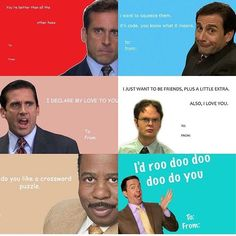 """""""Thanks for this awesome collage of Office valentines day card. - """"Thanks for this awesome collage of Office valentines day card. """"Thanks for this awesome collage of Office valentines day cards! Valentines Day Office, Meme Valentines Cards, Funny Valentines Cards, Be My Valentine, Office Quotes, Office Humor, Love You Boyfriend, Boyfriend Girlfriend, Boyfriend Gifts"""