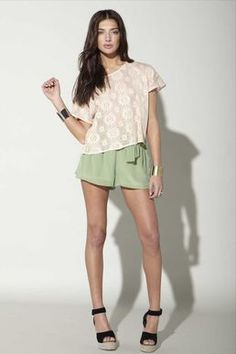cute crochet top and pastel shorts