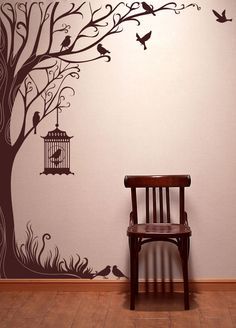 Tree decal wall stickers nature decals home inch Tall Autumn Tree wall… Family Tree Wall, Tree Wall Art, Wall Painting Decor, Tree Decals, Window Decals, Wall Decal, Wall Drawing, Cool Walls, Wall Design