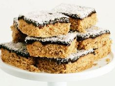 Weet-Bix Slice - Best Recipes BY: I have had this recipe for 30 years and it is great for lunch boxes or for visitors. An easy recipe for children to make. Coconut Recipes, Baking Recipes, Dessert Recipes, Desserts, Kiwi Recipes, Oats Recipes, Gf Recipes, Dessert Ideas, Lunch Recipes