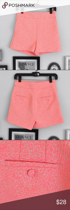 Express High Waisted Shorts Express Leopard print high waisted shorts. Never been worn. A neon pink color.   ⭐️10% off 2+ bundle ⭐️Size 0 ⭐️Smoke Free Home  ⭐️No stains or flaws Express Shorts