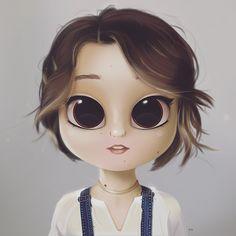 Cartoon, Portrait, Digital Art, Digital Drawing, Digital Painting, Character Design, Drawing, Big Eyes, Cute, Illustration, Art, Girl, Madilyn Mei, Overall, Pixie Cut, Short Hair #digitalart