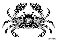 Vector: Hand drawn zentangle crab for coloring book for adult, tattoo, shirt design, logo and so on