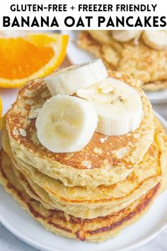 These healthy Banana Oatmeal Pancakes make a nutritious breakfast and come together in minutes. They are gluten-free and freezer friendly! #pancakes #oatmeal #banana #oat #healthy #glutenfree #breakfast