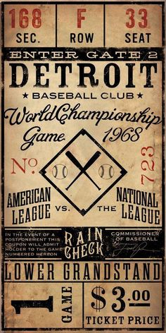 Game One Ticket for the 1968 Wold Series Baseball Championship … The 1968 World Series featured the American League champion Detroit Tigers vs the National League champion and defending World Series champion St. The Detroit Tigers. Detroit Sports, Detroit Tigers Baseball, Giants Baseball, New York Yankees, Detroit Michigan, Baseball League, Baseball Field, Detroit Meme, Michigan Facts