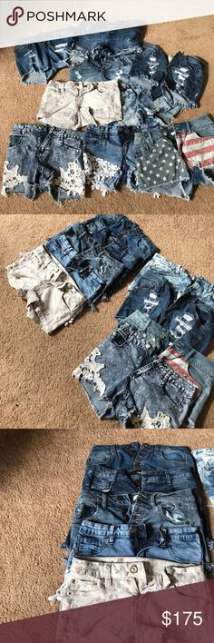 denim shorts 🎉TAKING OFFERS🎉 9 pairs denim shorts only worn once... different brands... Ymi, angel kiss, refuge, tinsel town, boom boom jeans, hot kiss... selling all together.. also the sizes 0, 1, 2, 3, and 5 the shorts in perfect condition... YMI Shorts Jean Shorts