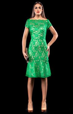 Green Lace Fitted Dress | Ruby Rouge Boutique - Instore | Online