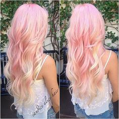 Candy pink long wavy hair with blonde highlight~ Love this cute hair style with extensions