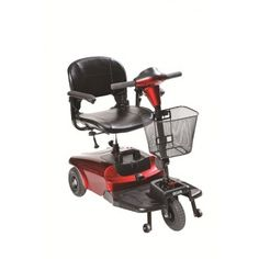 """The Bobcat 3 Wheel Compact Scooter by Drive Medical is ideal for indoor and outdoor use and is lightweight and easy to operate. It has a 32.2"""" turning radius, with a top speed of 4 mph. and a cruising range of 7.5 miles. It comes in a convenient, compact 4 piece design allows for easy tool free assembly and disassembly."""