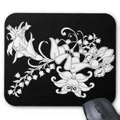 My Garden Mouse Pad #mousepad #tech #deco #office #accessory #computer #gift #black #white #floral #garden #zazzle