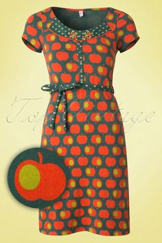 Blutsgeschwister - 60s Liesl Dress with Baked Apples in Green and Orange