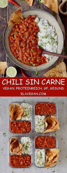 Vegan chili recipe with beans. This healthy chili sin carne is perfect for lunch… Vegan chili recipe with beans. This healthy chili sin carne is perfect for lunch, meal prep or dinner. The recipe is low-fat and gluten-free. Delicious Vegan Recipes, Vegetarian Recipes, Healthy Recipes, Vegetarian Chilli Con Carne, Lunch Recipes, Dinner Recipes, Lunch Meal Prep, Healthy Meal Prep, Veggie Meal Prep