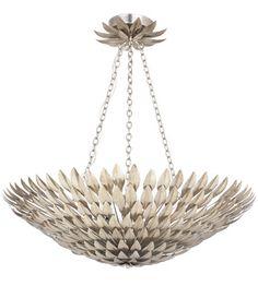 Crystorama Broche 8 Light Pendant in Antique Silver 519-SA #crystorama #lightingnewyork #crystallighting #lighting - THORNBLADE LIVING ROOM