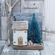 A Snowy Night ❄️handcrafted using salvaged wood, chalk paint and weathered driftwood. Available to buy from my Etsy shop 💙 . Scrap Wood Crafts, Wood Block Crafts, Barn Wood Crafts, Driftwood Crafts, Wooden Crafts, Wood Projects, Christmas Wood, Christmas Crafts, Xmas
