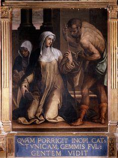 Bartolomeo Neroni, detto il Riccio - Caterina dona le vesti a Gesù sotto le sembianze di un pellegrino - sec. XVI - Siena (Italia) - Santuario Casa di Santa Caterina da Siena - Oratorio della Cucina