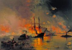 American Civil War Navy ~ Capture Of New Orleans By Union Flag Officer David G Farragut Print By Julian Oliver Davidson ~ BFD Paul Klee, American Civil War, American History, Battle Of New Orleans, City Of Columbus, Columbus Georgia, Civil War Art, Union Flags, Stonewall Jackson