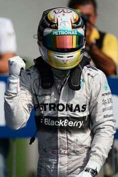 Lewis Hamilton pumps his first in parc ferme #Italy2014