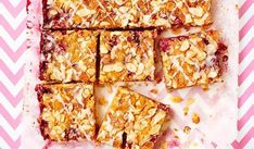 The traditional Bakewell Tart is given a Primrose Bakery makeover with this sliced variety. Made with fresh raspberries and frangipane and covered in a sticky glaze, the cake, from Primrose Bakery Everyday, is an absolute treat. Shortbread Bars, Shortbread Recipes, Homemade Shortbread, Tray Bake Recipes, Baking Recipes, Cake Recipes, Baking Desserts, Baking Ideas, Veggie Recipes