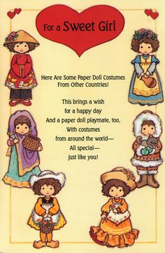 """FOR A SWEET GIRL ~~~ Paper Doll Costumes From Other Countries 