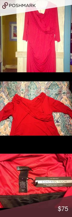 NWT Lane Bryant built in tech red dress size 22 Absolutely beautiful off the shoulder red dress. It has a built in panel for support almost like built in spans. Very comfortable bought for a cruise and never wore. 3/4 sleeves and hits right at knee. Great for holiday party or date night. Has double v neck with ruching around bust and waist. Make an offer plus check out closet for other listing an bundle deals Lane Bryant Dresses
