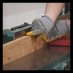 For the most part using gloves with power tools isn't recommended for safety reasons. But at my jointer I find myself using this grippy pair more often than not. What's your take on gloves in the shop?