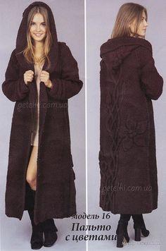 Длинное пальто с цветами. Схемы, описание вязания