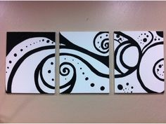 Classic Black and White - Acrylic on Canvas - 3 Painting set