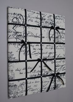 French script memo board  Fabric wall art by MemoBoardsNMore