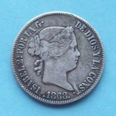 1868 Philipines 50 Cents Silver Coin Spanish