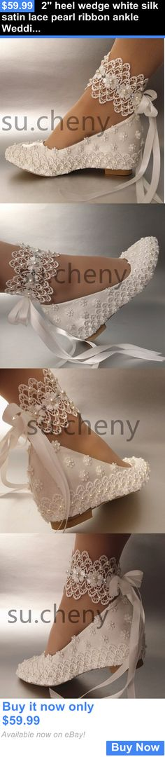 Wedding Shoes And Bridal Shoes: 2 Heel Wedge White Silk Satin Lace Pearl Ribbon Ankle Wedding Shoes Size 5-11 BUY IT NOW ONLY: $59.99
