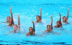 Egypt compete in the Synchronized Swimming Duet preliminary round on day four of the 15th FINA World Championships at Palau Sant Jordi on July 23, 2013 in Barcelona, Spain.