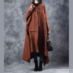 Elegant brown woolen Coats oversize Turn-down Collar long coat top quality asymmetric trench coat - Outwear