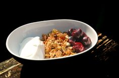 Pistachio Granola and Cherries Recipe served with whole milk, creamy-style Fage yogurt from Greece. Drink our Haitian Coffee Blend!