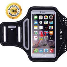 """iPhone 6/6s Armband,iPhone 5/5C/5S/4/4S/SE,Galaxy S3/S4 Armband(4.1~4.7 inch) -[Ultra thin Lightweight] Tripky Sports Exercise Armband with [ID/Cash/Key Holder] [Sweat Resistant](Black). ✔ SIZING & COMPATIBILITY - Designed for and will fit perfectly for iPhone 6, 6s with a slim case,fits perfectly into and can be removed from the armband without any struggle. It will also fit for all mobile devices that has a screen up to 4.7"""" with four headphone jacks support. two arm-strap slots fit…"""