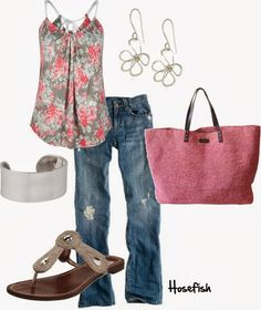 Spring Outfits | Flowerz Outfits  FULL TILT tank top, vintage slim jeans, DV by Dolce Vita sandals, LINDE GALLERY bag  by hosefish