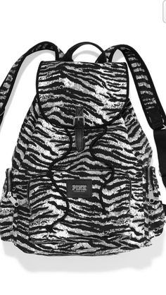 NWT FULL SIZE VICTORIAS SECRET PINK ZEBRA LIMITED BACKPACK Animal Print Bookbag