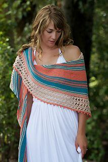 Beachcomber is a completely reversible oversized shawl full of fun shaping, garter stitch stripes and striking lace. Worked diagonally from tip to tip, the multicolored garter stitch sections alternate with bands of lace and are finished off with a fluttery picot bind-off, resulting in a delightfully squishy, colorful and lightweight shawl! The large, asymmetrical shape can be worn a multitude of ways and the breathable cotton/linen blend makes Beachcomber a striking and dramatic summer…