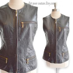 1990's |Classic | Leather | Moto | Black | Womens | Motorcycle | Vest