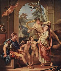 Venus Giving Helen to Paris as his Wife (1782-84) - Gavin Hamilton; In the judgement of Paris, Paris chose Aphrodite who offered the most beautiful mortal woman (Helen) in the world as a wife. Helen was already married to King Menelaus of Sparta, so Paris raided the Kings home & stole Helen from him.