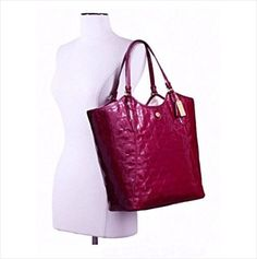 Coach Peyton Op Art Embossed Patent Tote Passion Berry, Gold Tone Accents F25703 $158.00 at eBid.net