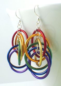 Rainbow Spiral Hoops Earrings Kit Colorful by UnkamenSupplies