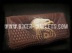 """American Eagle"" 8"" Custom Handmade Hand Tooled Leather Men's Biker Wallet"