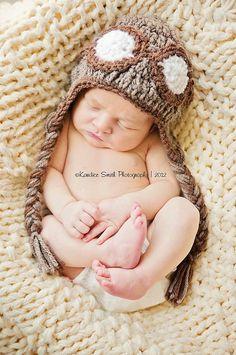 Crochet Pilot Hat baby hat newborn photography prop by MyasEyes, $28.00