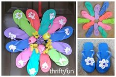 This is a guide about making a flip flop wreath. Flip flops say summer in so many ways. Use these popular sandals to create a colorful wreath for your summertime decorating. Spring Wreaths For Front Door Diy, Summer Wreath, Door Wreaths, Picture Wreath, Decorating Flip Flops, Flip Flop Wreaths, Dollar Tree Decor, Diy Wreath, Wreath Ideas