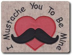 Applique Valentine Mustache Design Includes 3 Sizes