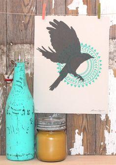 """Flying Bird & Mandala Siebdruck auf grauem Papier: 8,5 """"x 11"""" schwarz und Teal"""