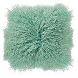 Mint Mongolian Lambs Fur Cushion