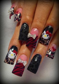 Lovely Animal Print Nail Art I'd cut them short and ditch hello kitty.then they'd be super cute So Nails, Duck Nails, Crazy Nails, Fancy Nails, Bling Nails, Pretty Nails, Hair And Nails, Cheetah Nails, Creative Nail Designs