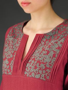 Red-Grey Patchwork & Embroidered A-Line Kurta #nowavailable Online at Jaypore.com  #shopnow