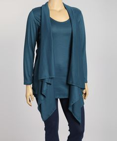 Love this Dark Teal Layered Top - Plus by Poliana Plus on #zulily! #zulilyfinds